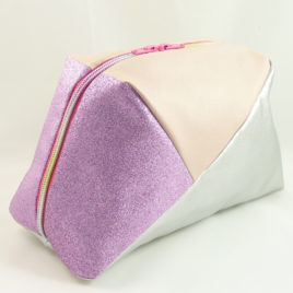 Geo-Bag groß, Silber-Rosa-Glitzer