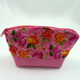 Kosmetiktasche, Größe M, Pink mit Blüten