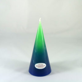 Gradient Spitzkegelkerze in Grün-Blau