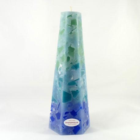 gruen-blau-Sechseckpyramide-L-Kerzengiesser