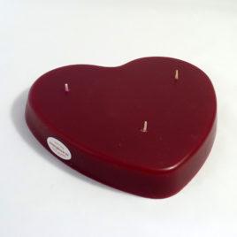 Rote 3-Docht-Herzkerze